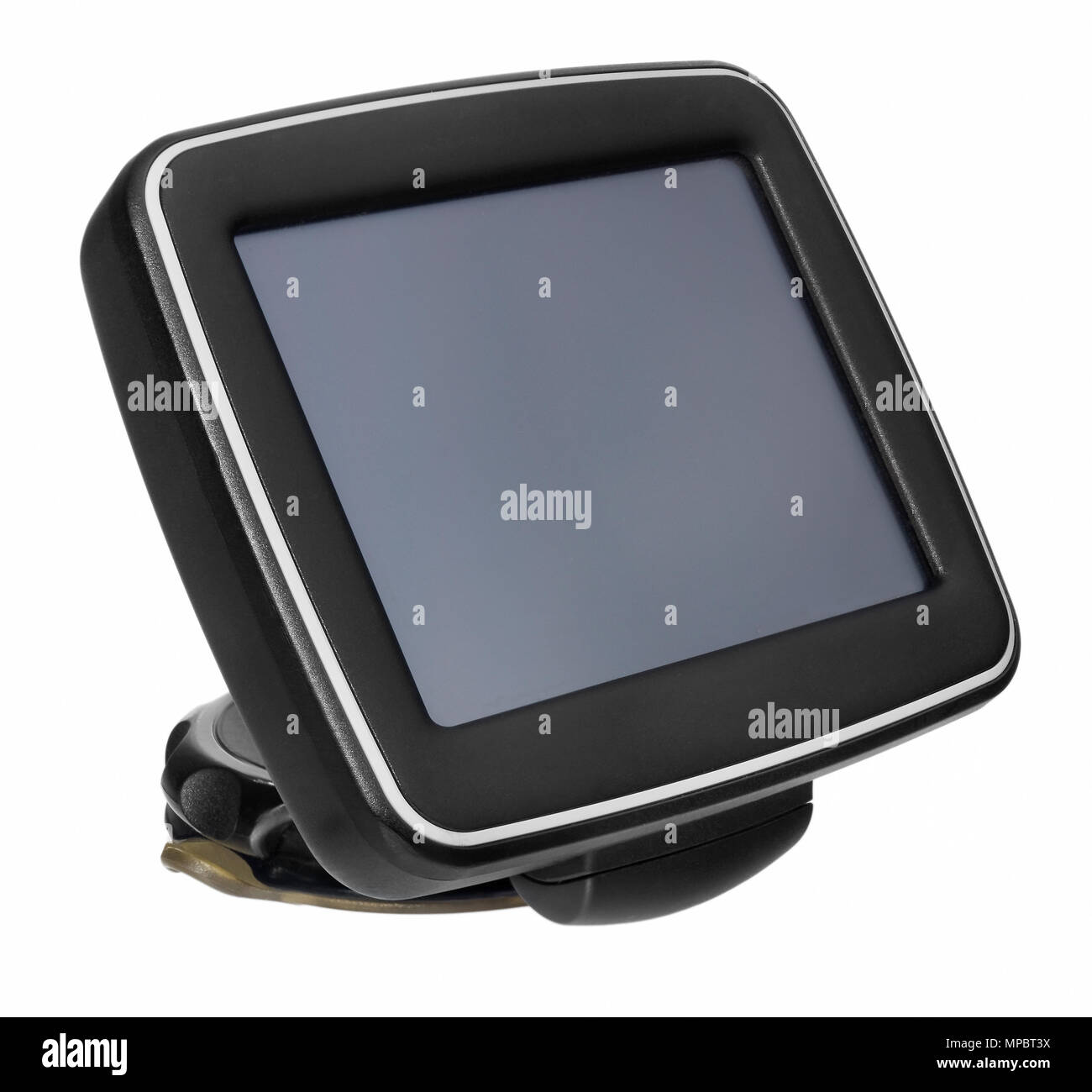 GPS car navigation with handle. Black electronic map device with blue screen and silver border. Satellite navigation device on white background. - Stock Image