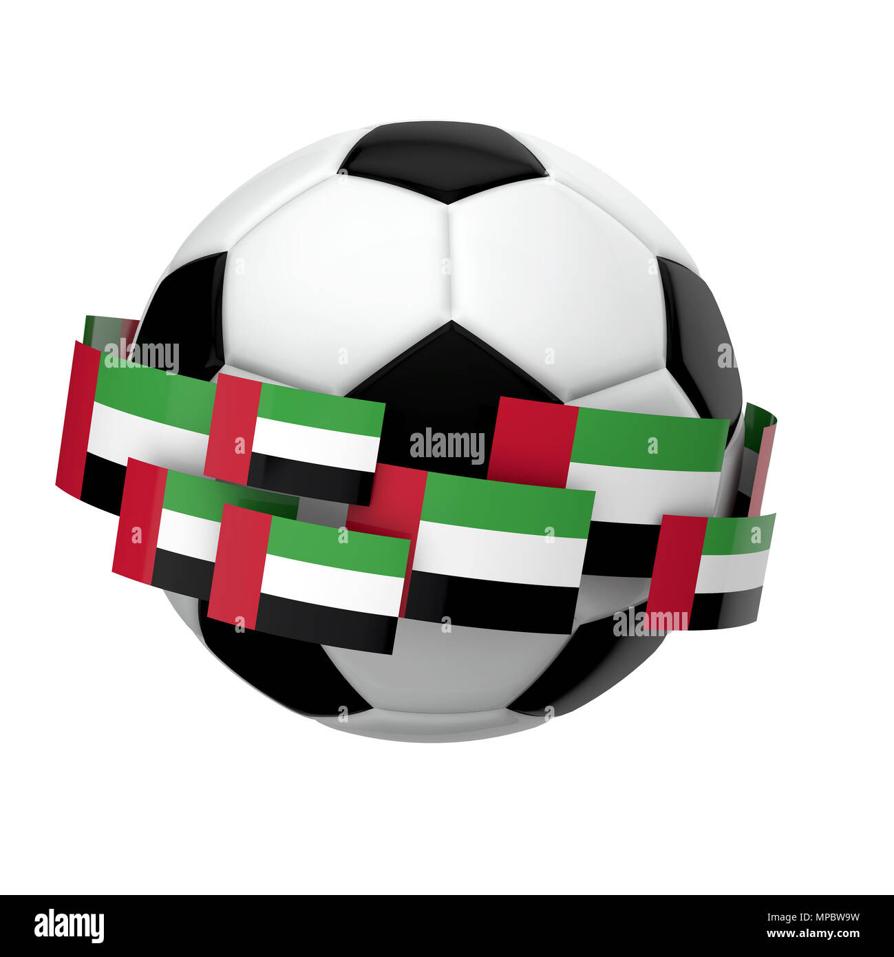 Soccer football with United Arab Emirates flag against a plain white background. 3D Rendering - Stock Image