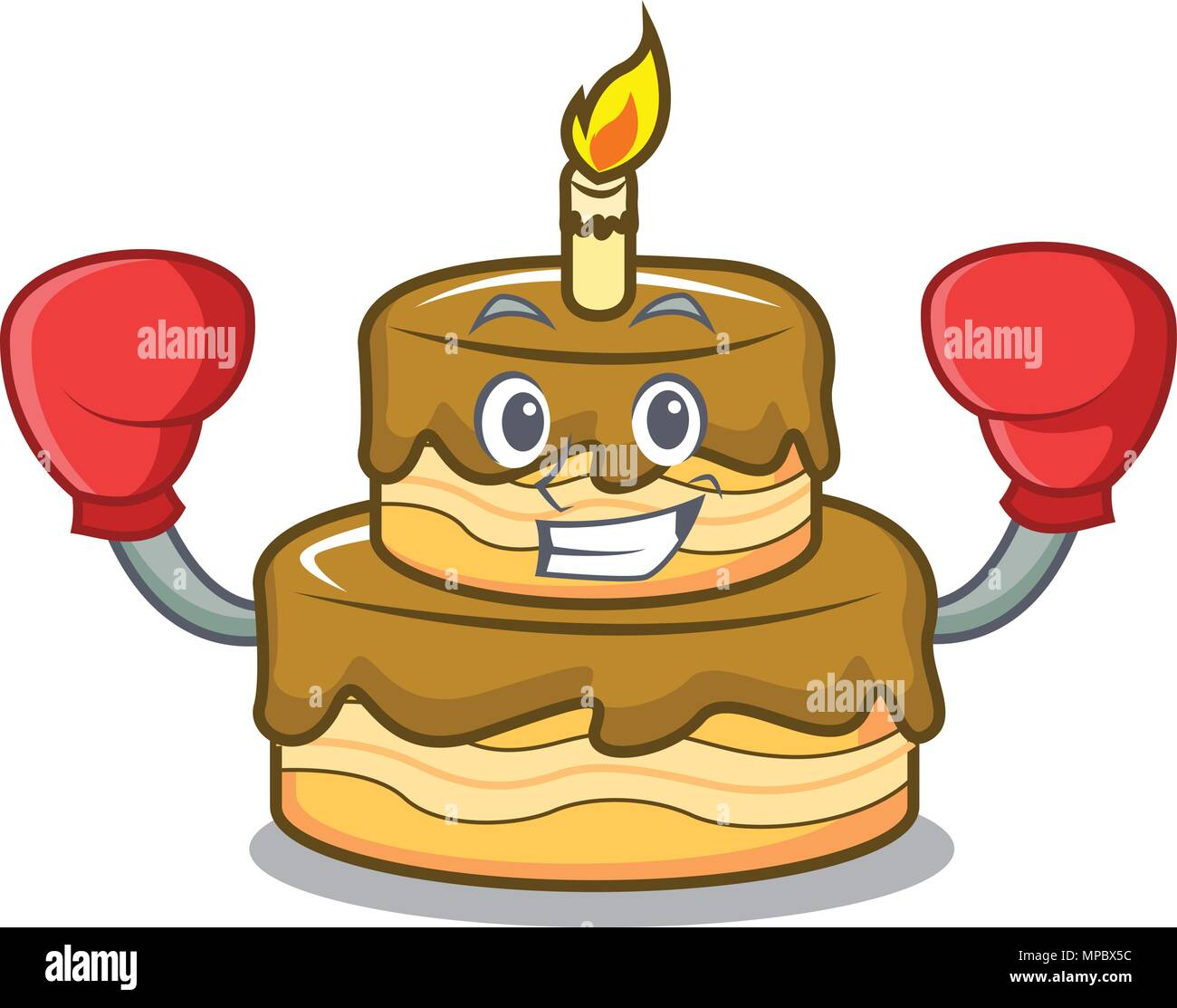 Boxing Birthday Cake Character Cartoon
