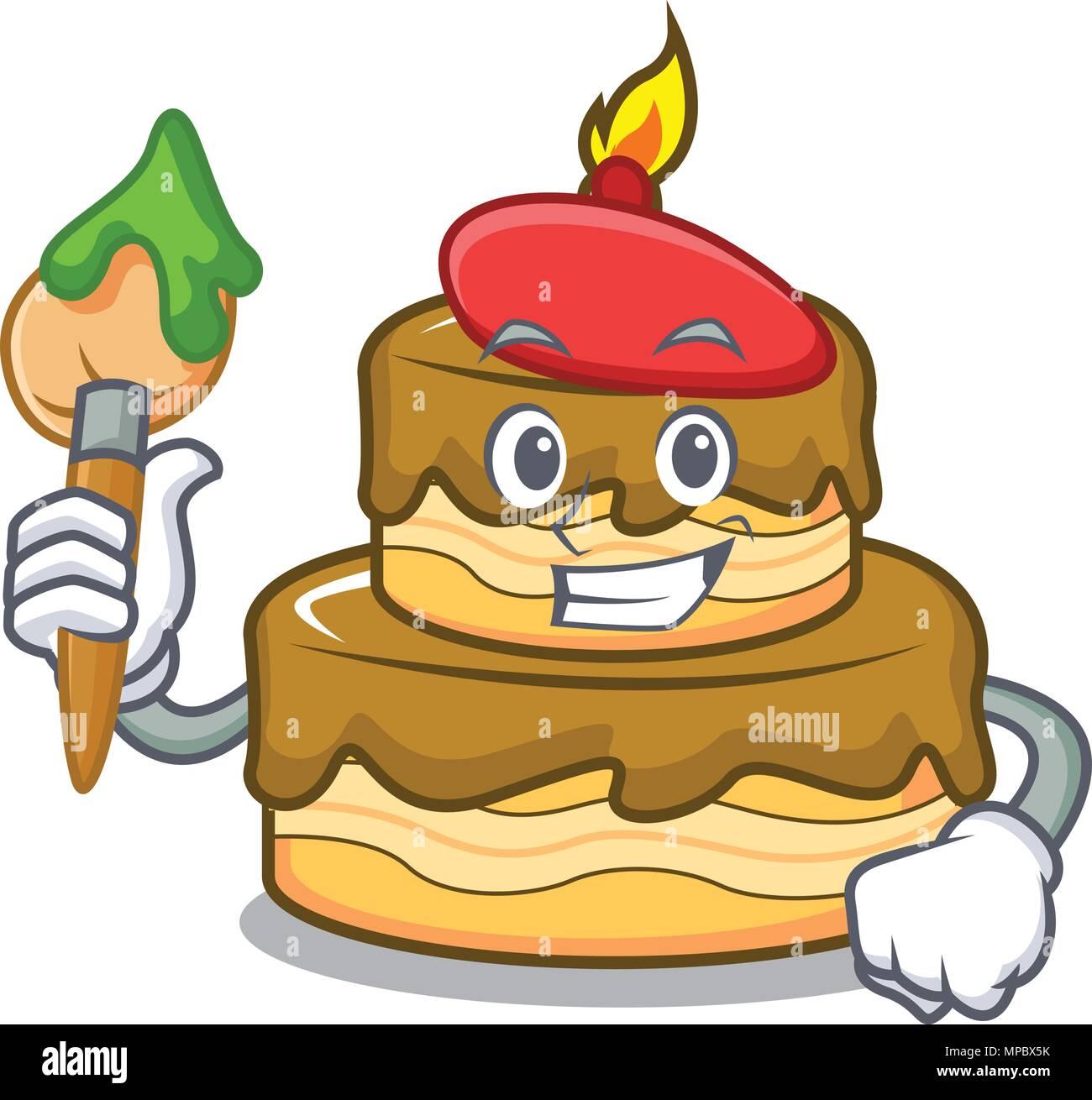 Artist Birthday Cake Character Cartoon