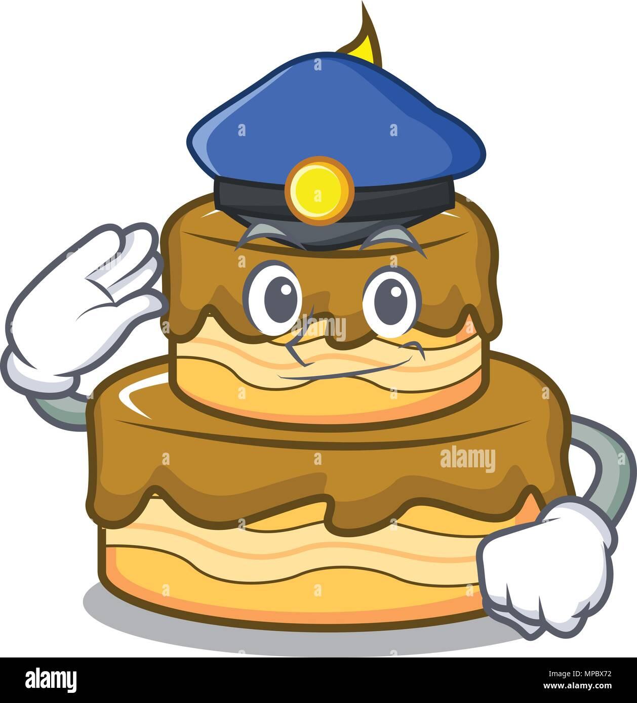 Marvelous Police Birthday Cake Character Cartoon Stock Vector Art Funny Birthday Cards Online Hendilapandamsfinfo