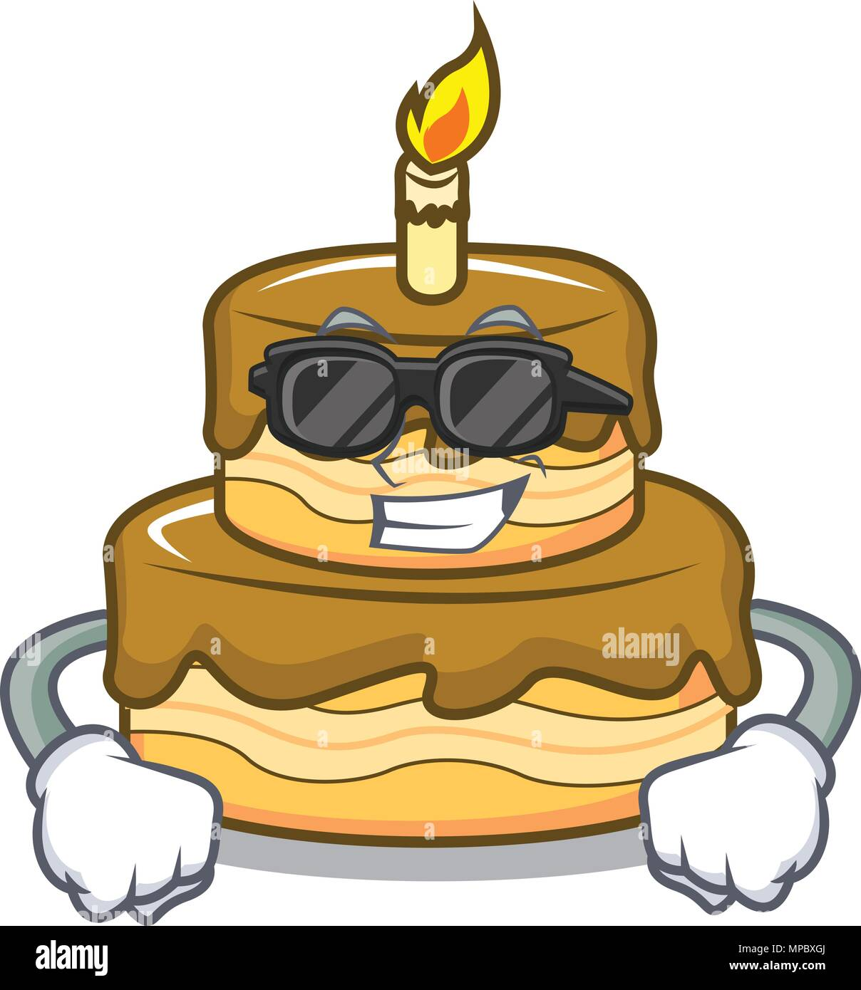 Groovy Super Cool Birthday Cake Character Cartoon Stock Vector Art Personalised Birthday Cards Rectzonderlifede