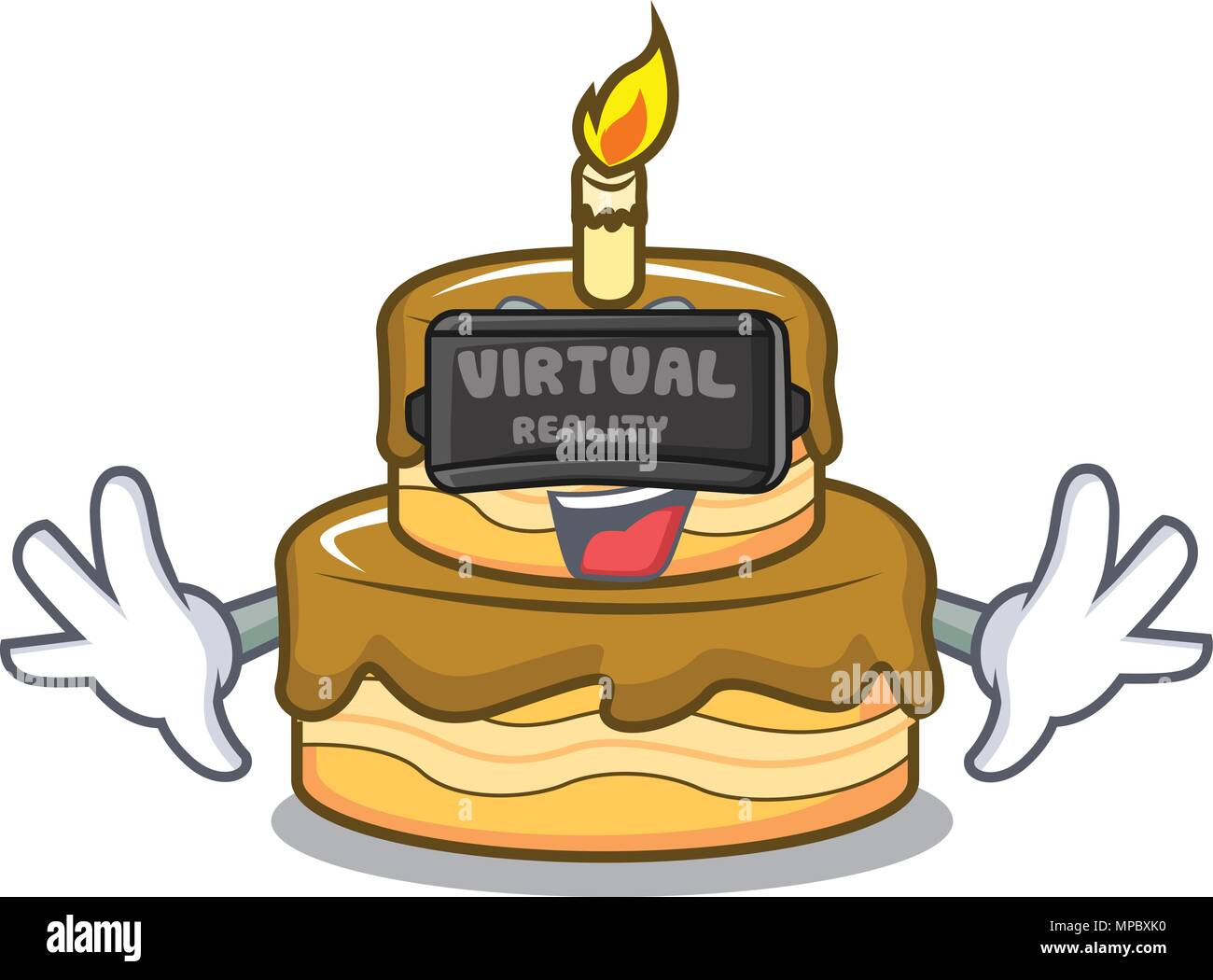 Enjoyable Virtual Reality Birthday Cake Mascot Cartoon Stock Vector Art Funny Birthday Cards Online Barepcheapnameinfo
