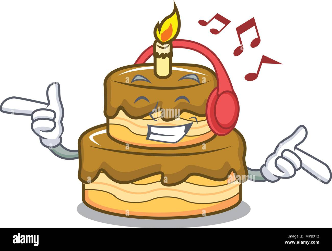 Pleasing Listening Music Birthday Cake Mascot Cartoon Stock Vector Art Funny Birthday Cards Online Alyptdamsfinfo