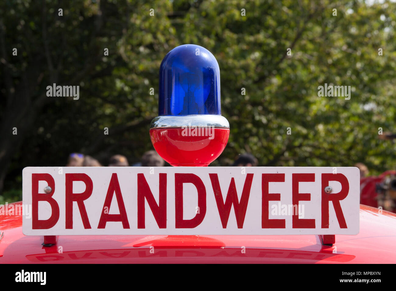 Amsterdam , Netherlands-august 20, 2015: Blue lano and sign with brandweer on dutch firebrigade car - Stock Image