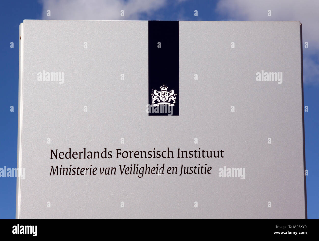 Amsterdam,netherlands-july 21, 2015: Sign of Dutch Forensic Institute is a laboratory in amsterdam the Netherlands does forensics, part of Ministry of - Stock Image