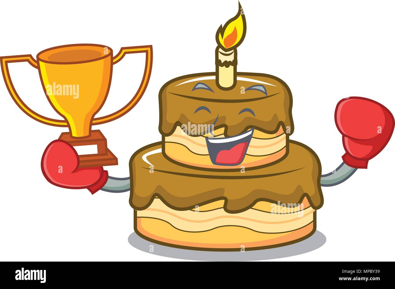 Peachy Boxing Winner Birthday Cake Mascot Cartoon Stock Vector Art Birthday Cards Printable Inklcafe Filternl
