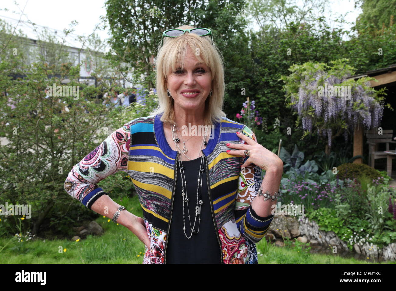 Chelsea, London, UK. 21st May, 2018. Chelsea, London, UK. 21st May 2018. Joanna Lumley on the Welcome to Yorkshire garden at Chelsea Flower Show 2018, designed by Mark Gregory for Landformconsultants.co.uk Credit: Jenny Lilly/Alamy Live News - Stock Image