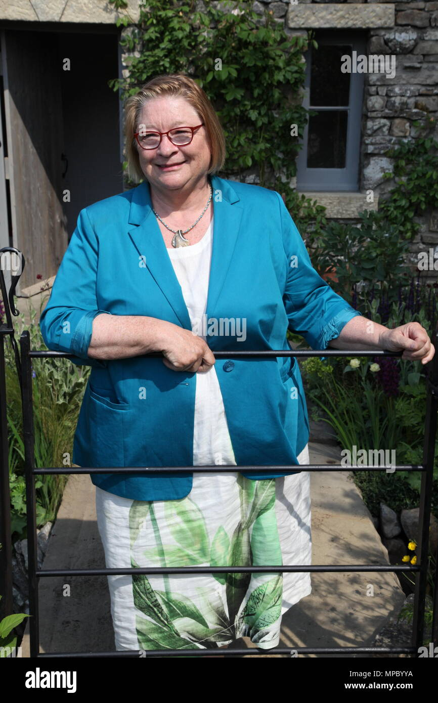 Chelsea, London, UK. 21st May, 2018. Chelsea, London, UK. 21st May 2018. Rosemary Shrager on the Welcome to Yorkshire garden at Chelsea Flower Show 2018, designed by Mark Gregory for Landformconsultants.co.uk Credit: Jenny Lilly/Alamy Live News - Stock Image