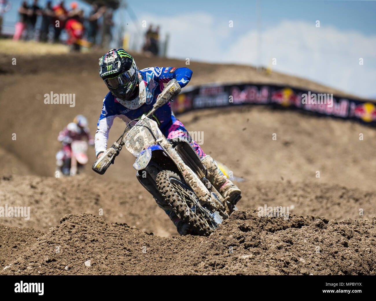 Rancho Cordova, CA. 19th May, 2018. # 51 Justin Barcia earned his first podium finish since 2016 in third place during the Lucas Oil Pro Motocross Championship 450cc class moto # 1 at Hangtown Motocross Classic Rancho Cordova, CA Thurman James/CSM/Alamy Live News - Stock Image