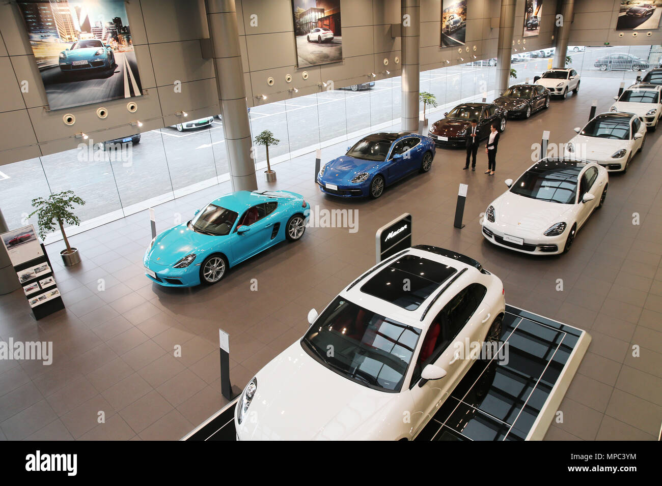 (180522) -- NANTONG, May 22, 2018 (Xinhua) -- Photo taken on May 22, 2018 shows an import vehicle exhibition hall in Nantong, east China's Jiangsu Province. China will cut import tariffs on vehicles and auto parts starting July 1, the Ministry of Finance (MOF) announced Tuesday. For car imports, the 25-percent tariff levied on 135 items and the 20-percent duty on four items will both be slashed to 15 percent, down 40 percent and 25 percent respectively. Import tariffs for 79 items of auto parts will be reduced to 6 percent from the current levels of 8 percent, 10 percent, 15 percent, 20 percen - Stock Image