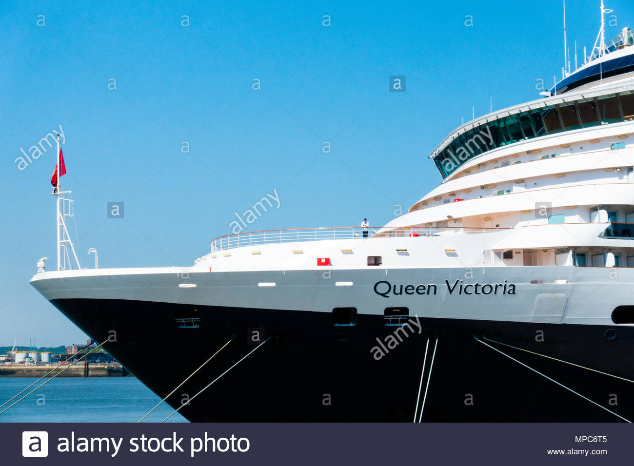 The Cunard Cruise Liner Queen Victoria berthed at the Pier Head in Liverpool, the large passenger ship berthed on a sunny day, on it's arrival in Liverpool, Merseyside, England on a very sunny day. Credit: Christopher Canty Photography/Alamy Live News Stock Photo