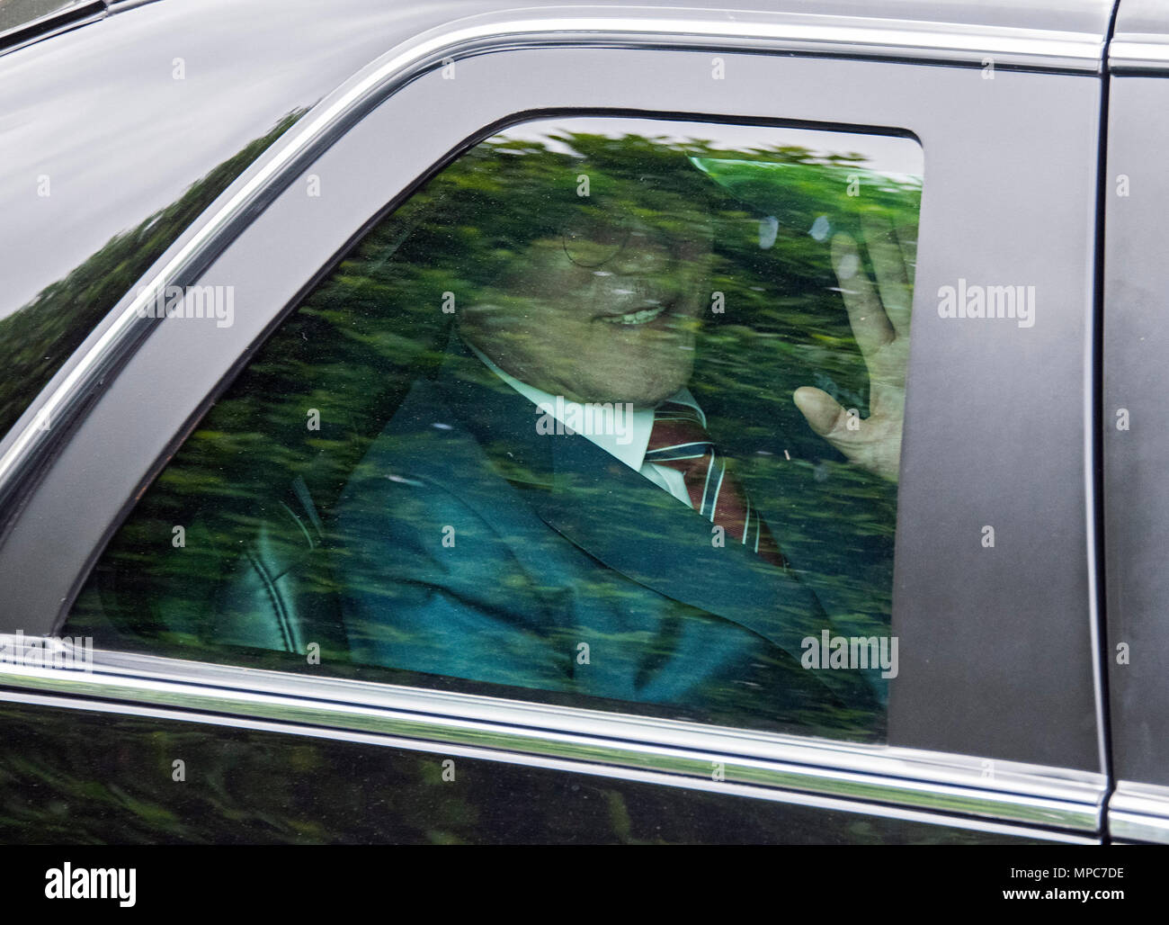 Singapore. 12th June, 2018. President Moon Jae-in of South Korea departs after meeting United States President Donald J. Trump for talks at the White House in Washington, DC on Tuesday, May 22, 2018. The two leaders are meeting ahead of President Trump's scheduled summit with Kim Jung-un of North Korea which is tentatively scheduled for June 12, 2018 in Singapore. Credit: Ron Sachs/CNP | usage worldwide Credit: dpa/Alamy Live News - Stock Image