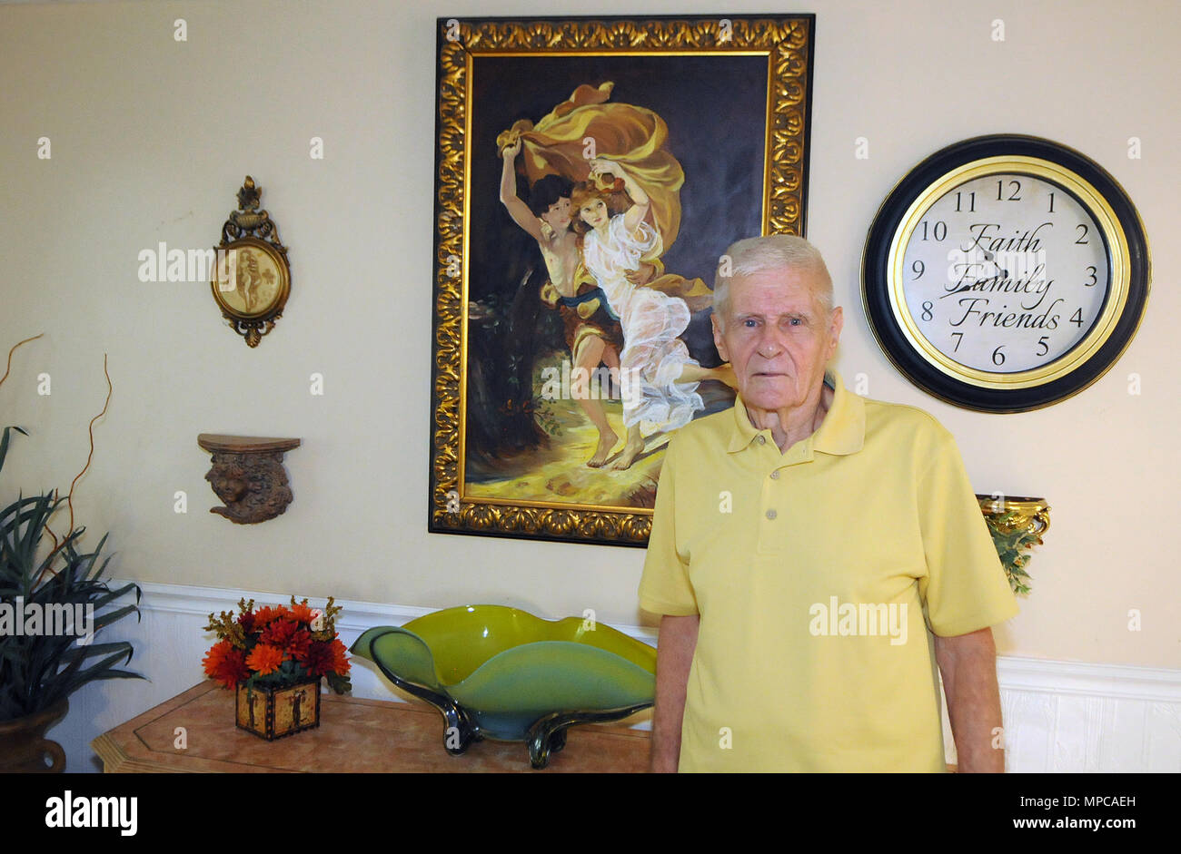 Florida, USA. 22nd May, 2018. Carl Laurin, the author of the book, 'D.B. Cooper & Me: A Criminal, a Spy, My Best Friend', which was released on May 17, 2018, poses at his home on May 22, 2018 in DeLand, Florida. The book chronicles the confessions of Laurin's longtime friend, Walter R. Reca, who, around 2008, related to Laurin that he committed the infamous 1971 hijacking of a Northwest Orient flight from Portland to Seattle. Credit: Paul Hennessy/Alamy Live News - Stock Image