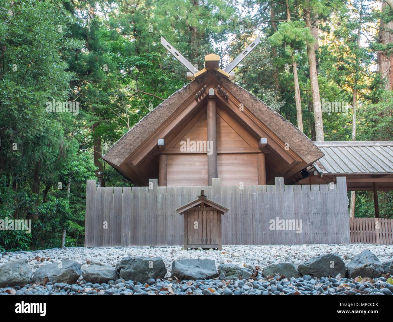 Kaze-no-miya subordinate shrine, roof gable,  and oi-ya on kodenchi area, Naiku, Ise Jingu, Mie, Japan - Stock Image