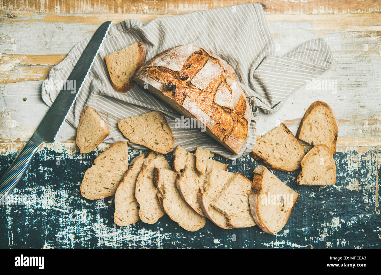 Sourdough wheat bread loaf - Stock Image