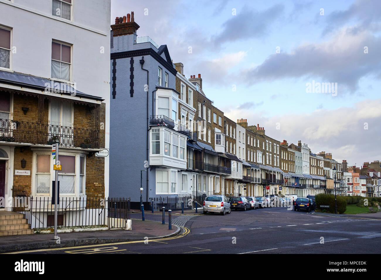 Georgian buildings in Nelson Crescent in Ramsgate, Kent - Stock Image