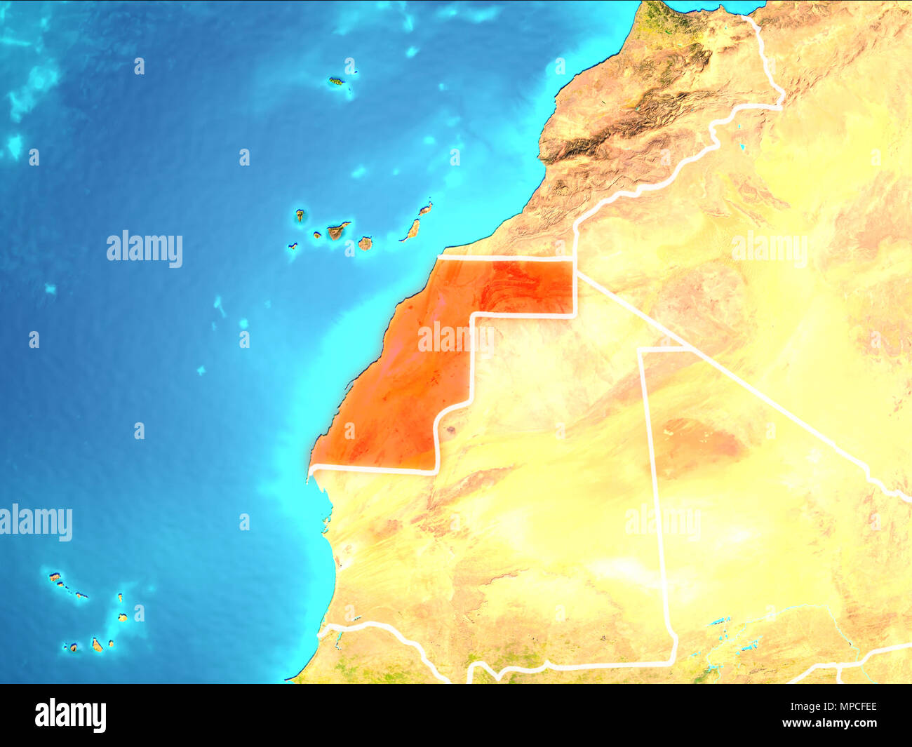 Western Sahara highlighted in red from Earth's orbit. 3D illustration. Elements of this image furnished by NASA. - Stock Image