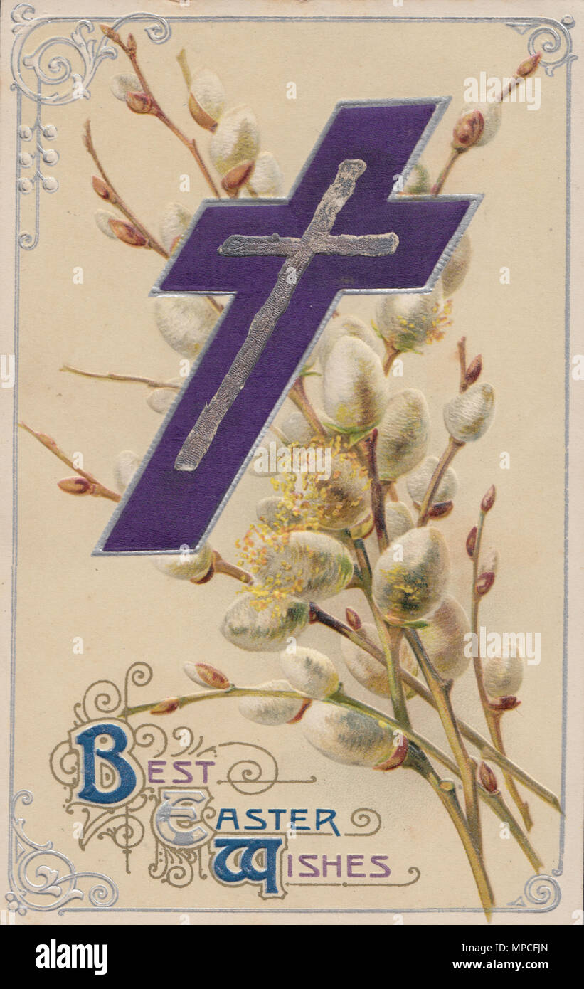Vintage Embossed Best Easter Wishes Postcard - Stock Image