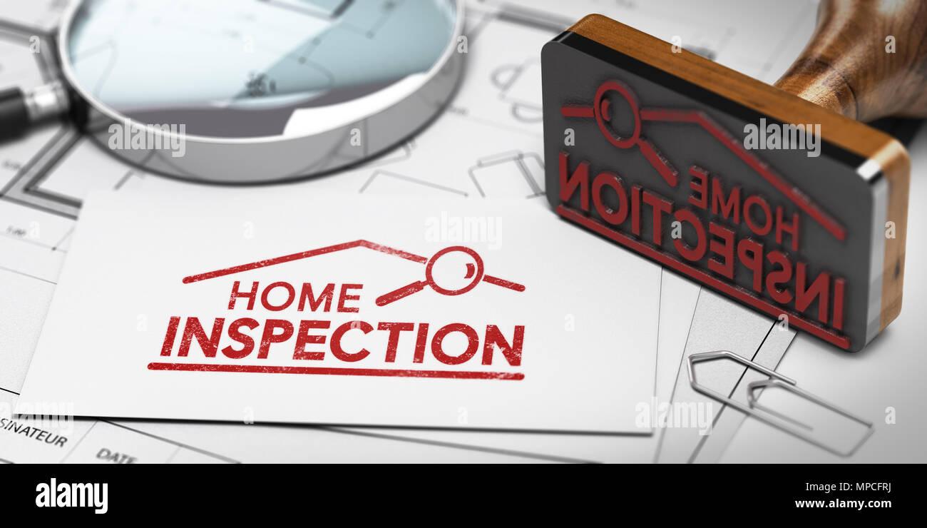 3d illustration of home inspector business card with rubber stamp 3d illustration of home inspector business card with rubber stamp magnifier and blueprint colourmoves