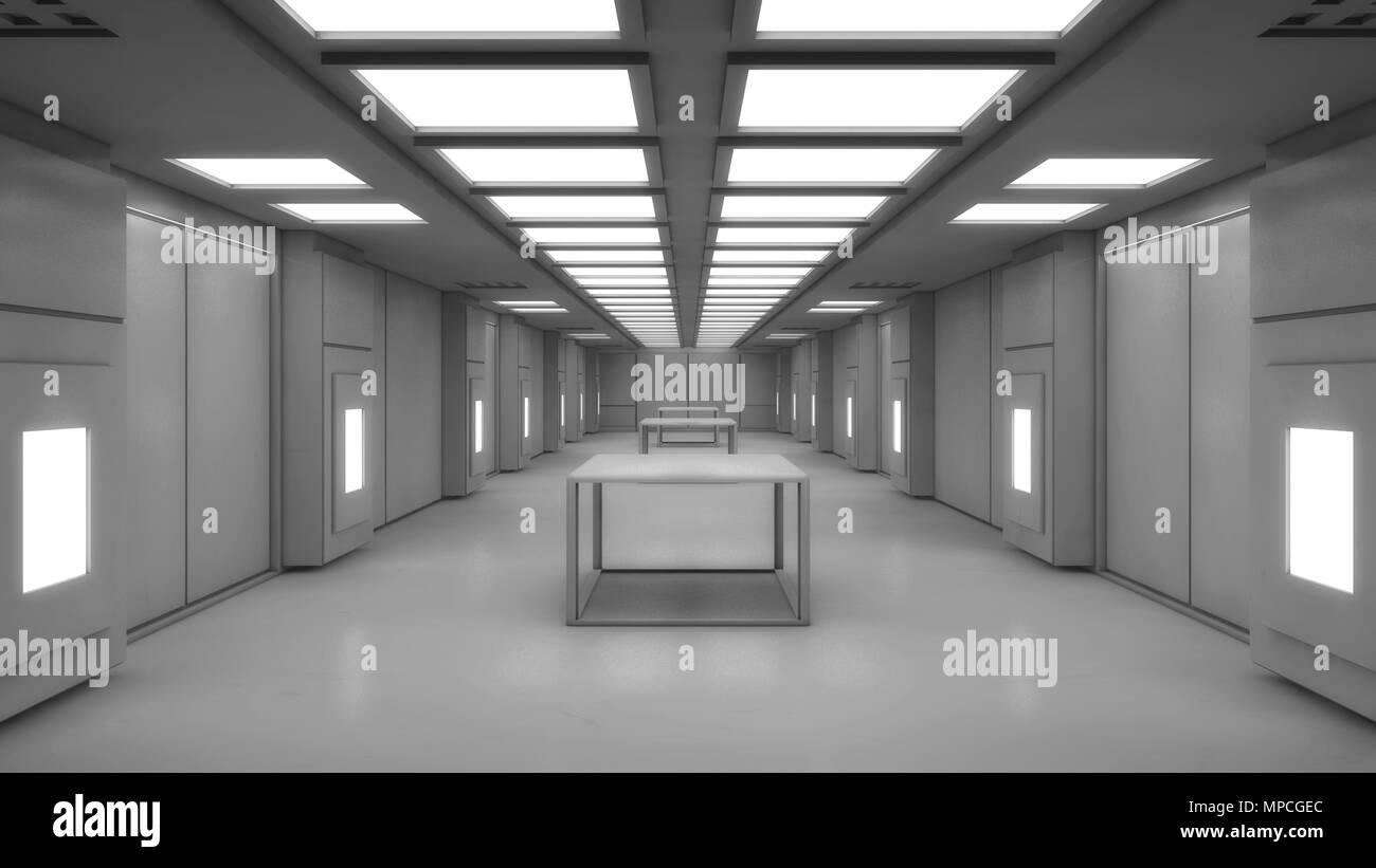 3D render. Modern interior scifi architecture - Stock Image