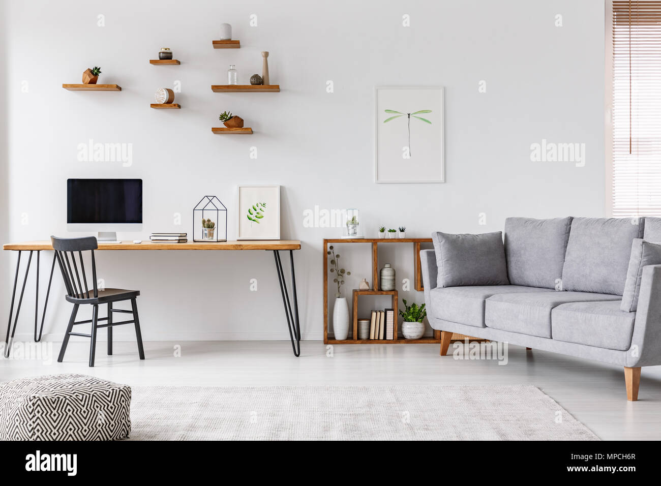 Grey sofa near black chair at desk with computer monitor in open space interior with poster. Real photo - Stock Image