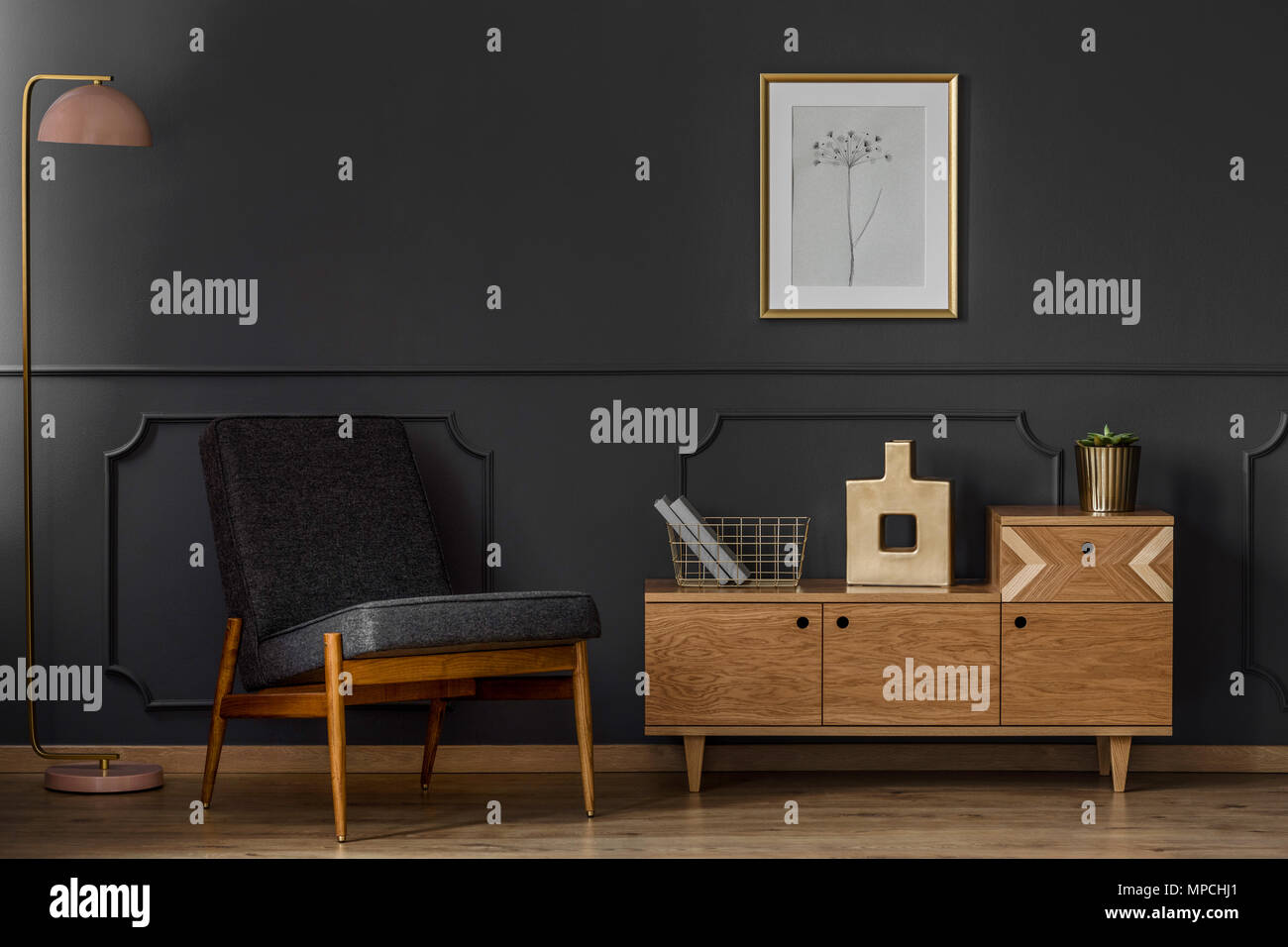Dark Retro Living Room Interior Concept With Black Chair Lamp Poster Cabinet And Wooden Floor Stock Photo Alamy