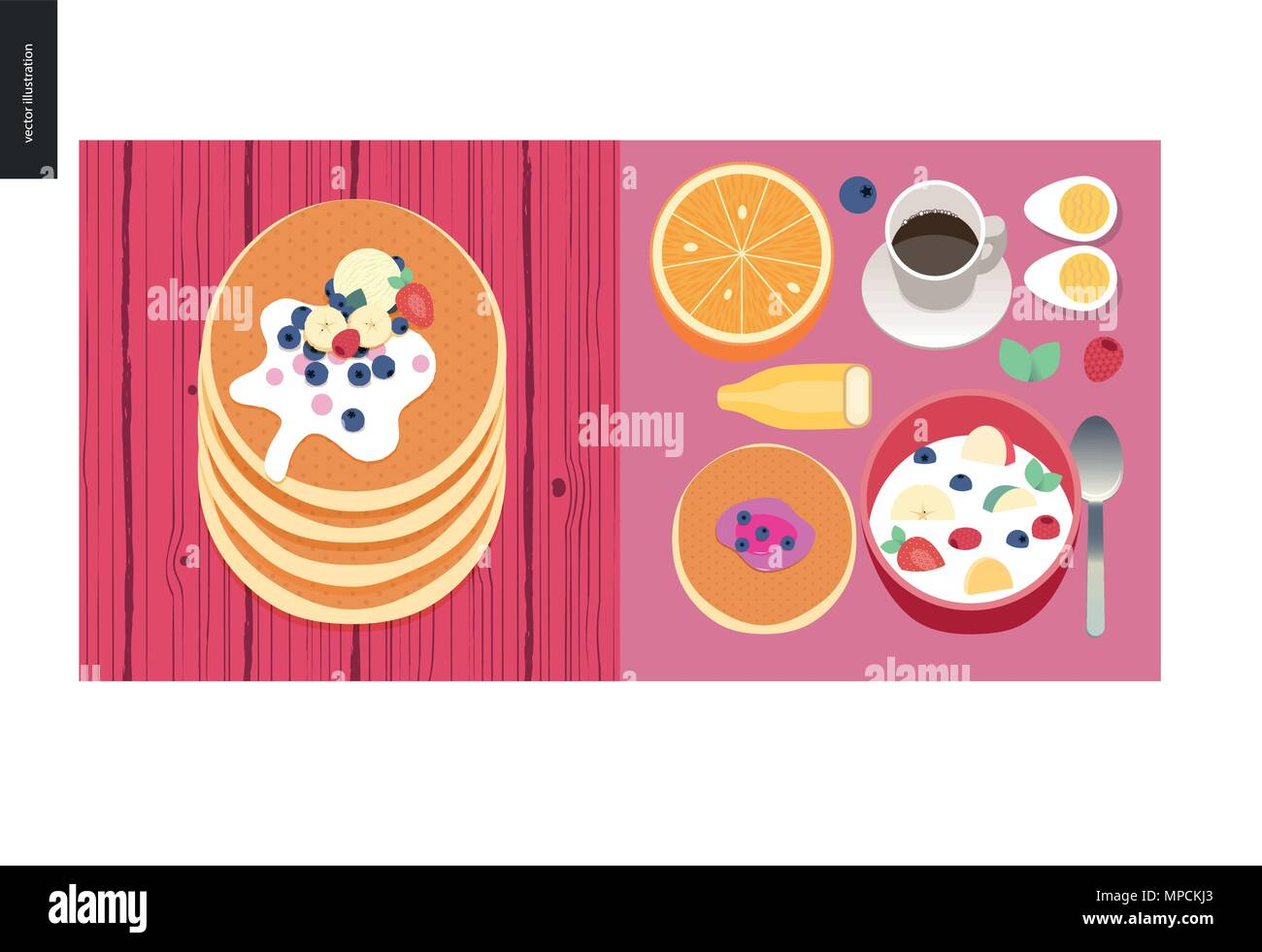 Simple things - meal - flat cartoon vector illustration of set of breakfast meal with coffee, fruits, eggs, pancakes and cereal, stack of pancakes wit - Stock Vector
