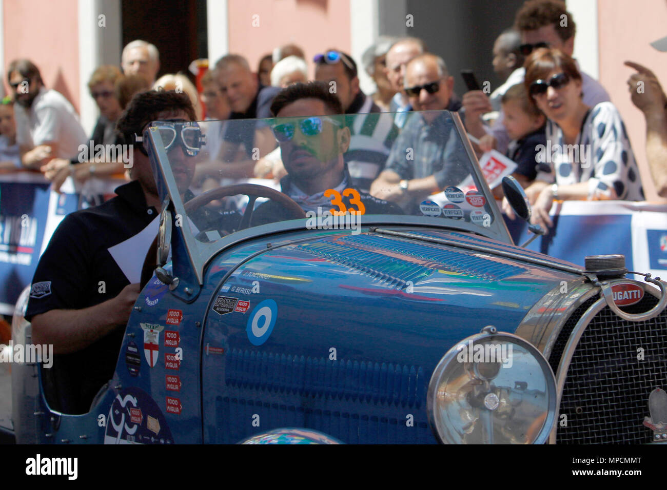 Ospitaletto, Italy. 21th, May 2017.  Crew composed by Juan Tonconogy and Guillermo Berisso from Argentina with their model car, BUGATTI Type 40 1927 - Stock Photo