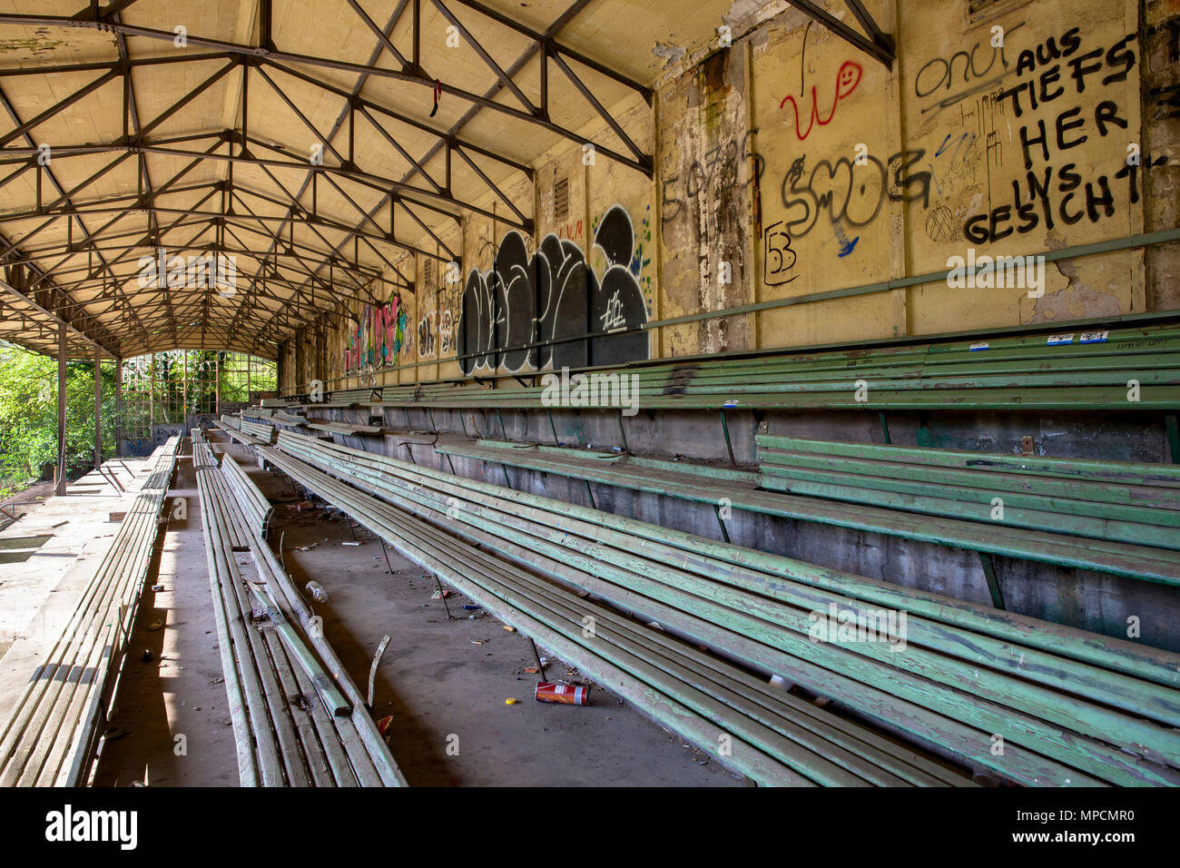 Germany, Cologne, old football stand of the soccer club VfL Koeln 1899 in the district Weidenpesch. One of the oldest football stands in Germany falls - Stock Image