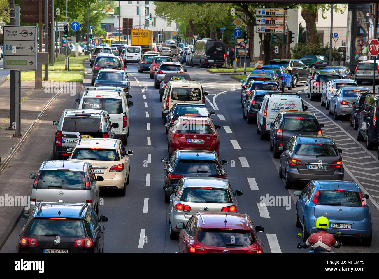 Europe, Germany, Cologne, traffic jam on the Rheinufer street, exit from the Rheinufer tunnel heading south.  Europa, Deutschland, Koeln, Stau auf der - Stock Image