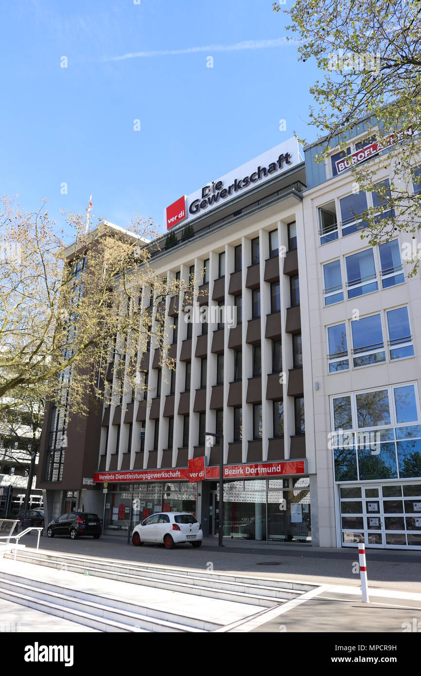 Dortmund, Ruhr Area, North Rhine Westphalia ,Germany - April 16 2018: Ver.di labor union building - Stock Image