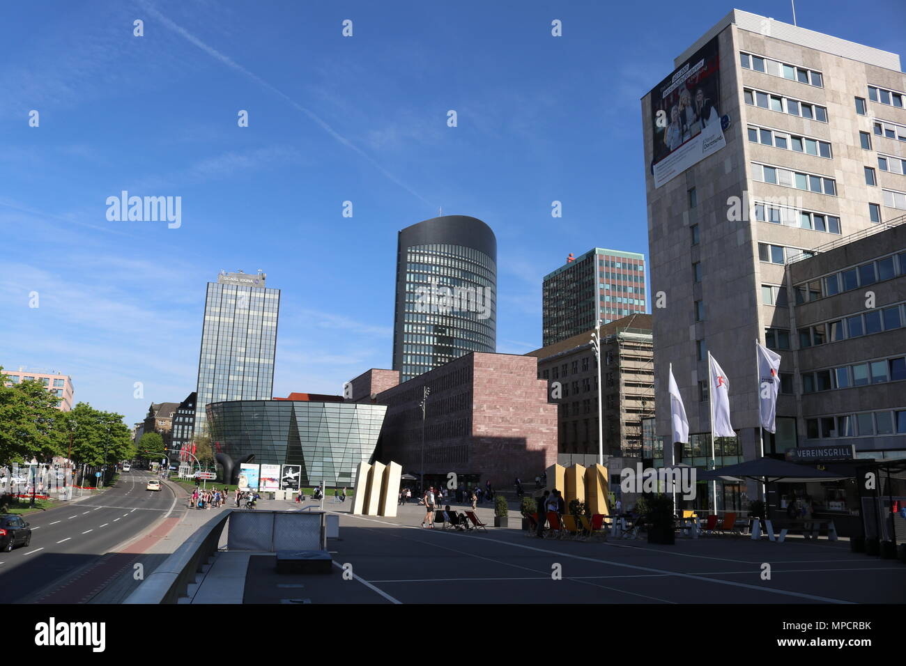 Dortmund, Ruhr Area, North Rhine Westphalia, Germany - April 16 2018: Inner City skyline buildings - Stock Image