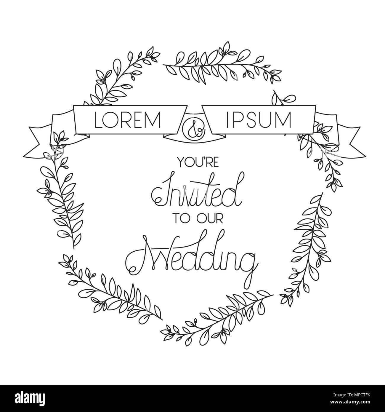 Wedding and married invitation with wreath and ribbon vector wedding and married invitation with wreath and ribbon vector illustration stopboris Gallery