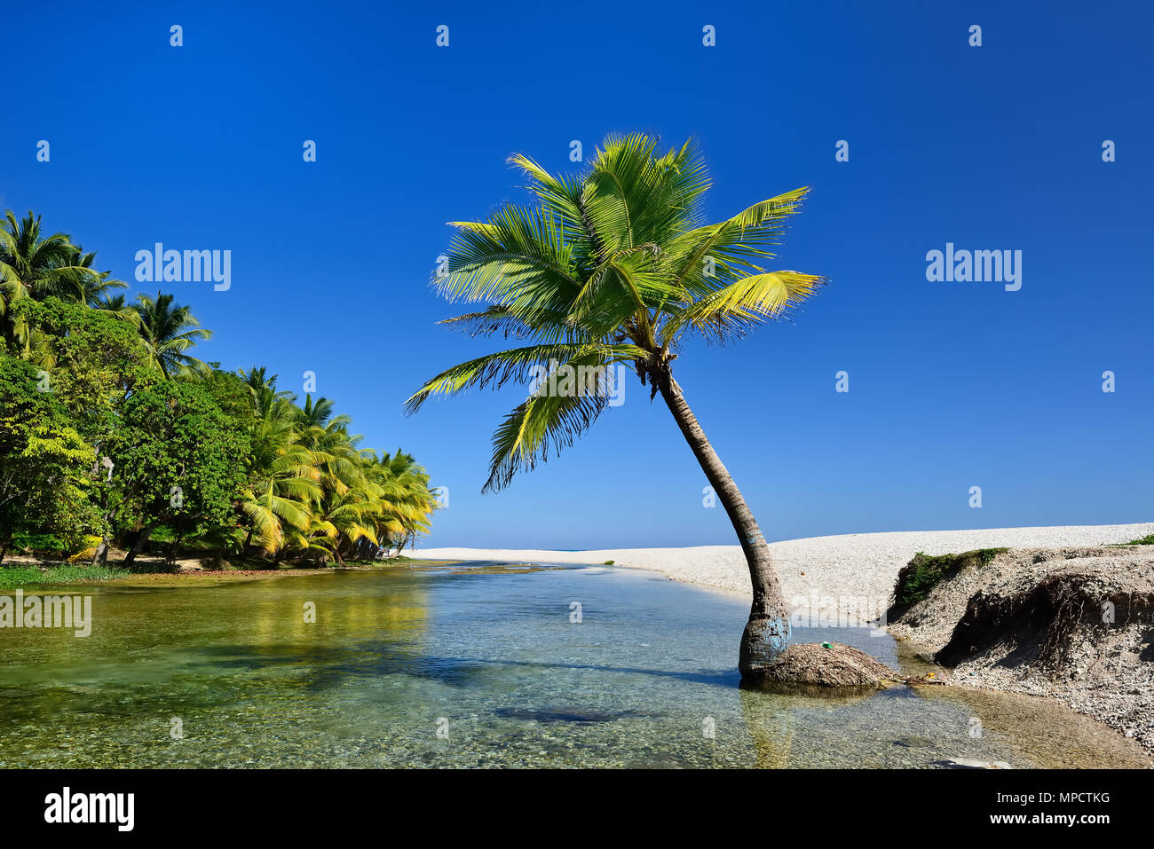 Wild beach on south-western Dominican Republic in the close of the Paraiso village - Stock Image