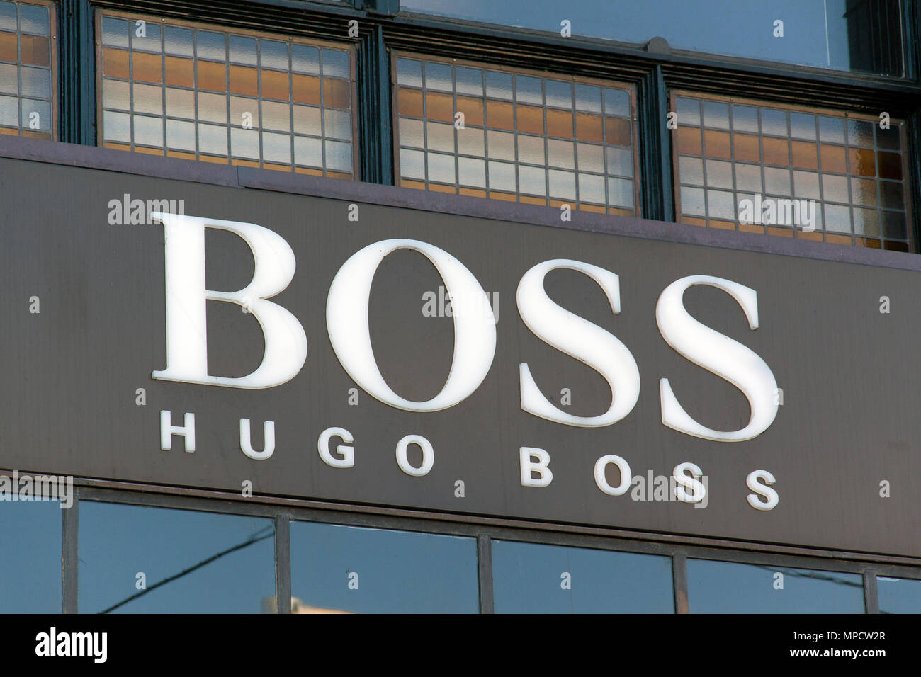Amsterdam, Netherlands-october 10, 2015: Facade of the hugo boss store in Amsterdam - Stock Image