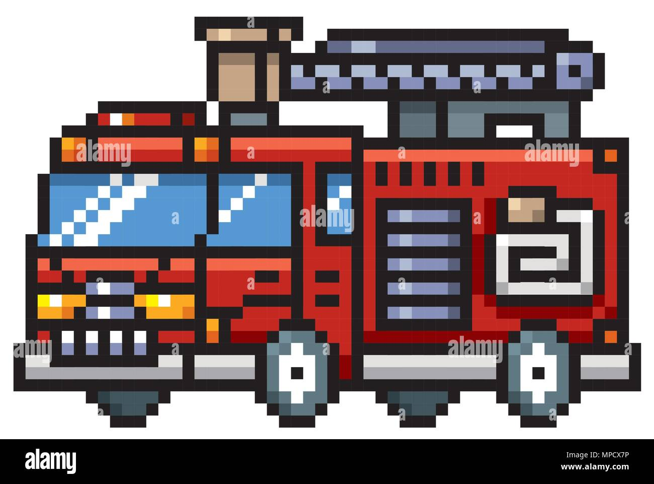Vector Illustration Of Cartoon Fire Truck Pixel Design