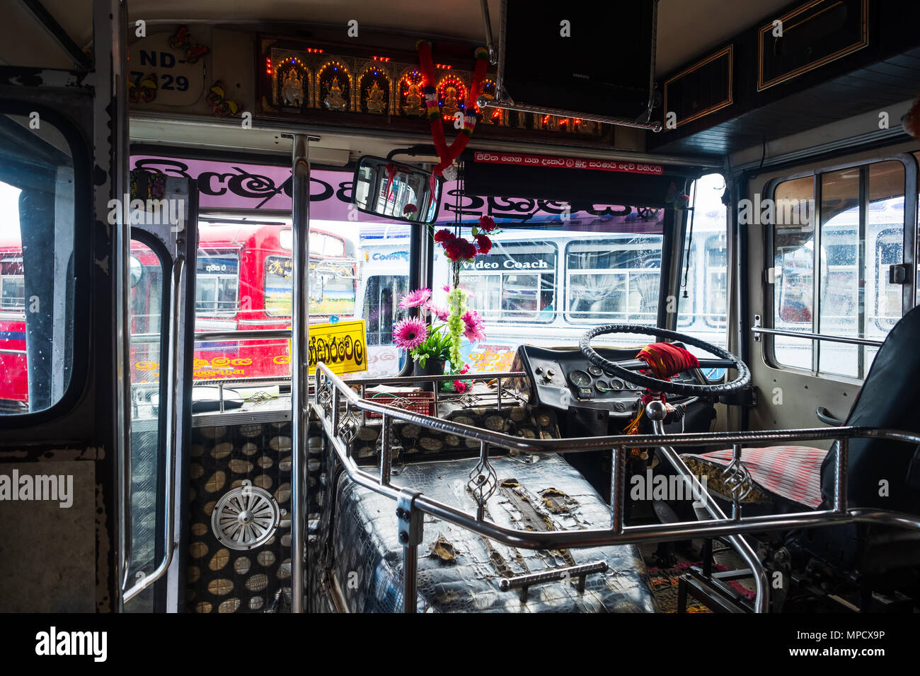 Bandarawela, Sri Lanka - April 11 2018: Inside the asian bus on bus station - Stock Image