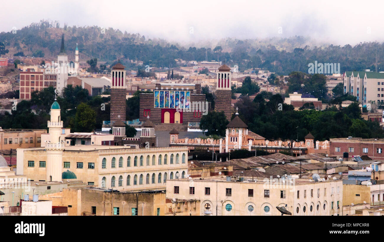 aerial View to Enda Mariam Cathedral and mosque - 06 March 2011 Asmara, Eritrea - Stock Image