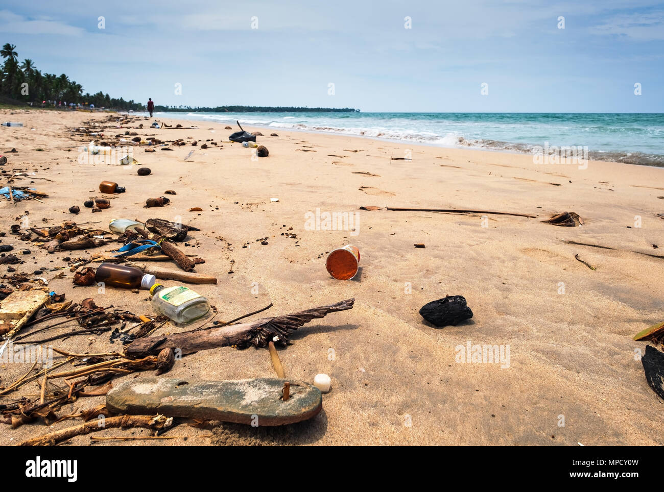 Disaster on seashore of Sri Lanka in Uouveli Trincomale - Stock Image