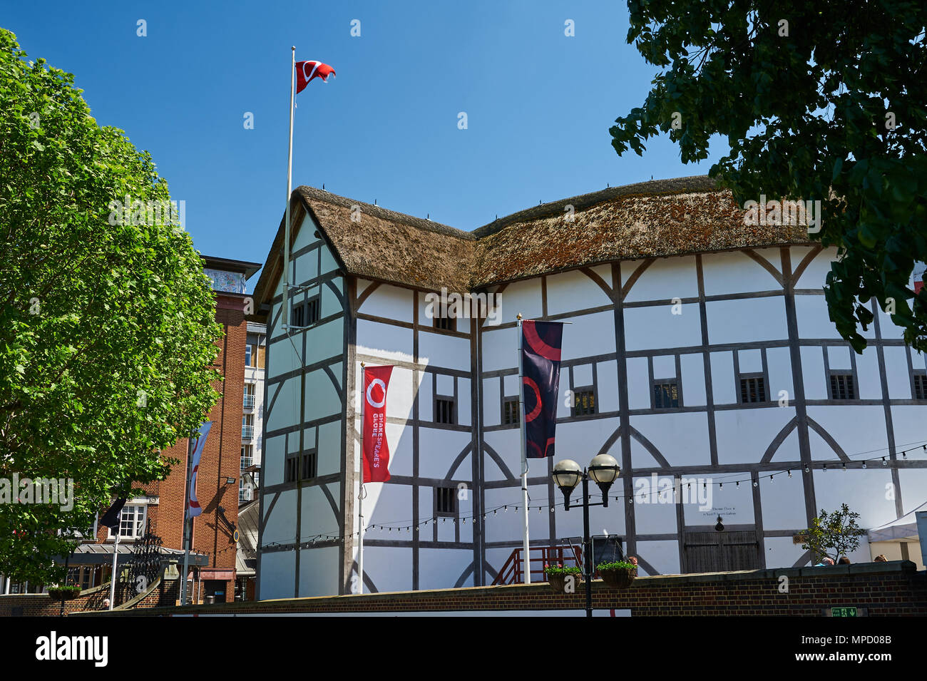 Globe Theatre, Southwark,  London, on the south bank of the River Thames is a replica building of William Shakespeare's original theatre - Stock Image