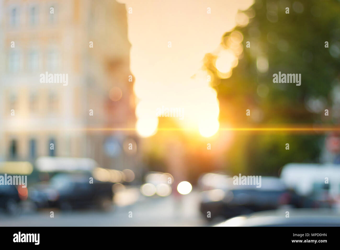 Beautiful Sunset City Bokeh Blurred Background Photo Stock Photo Alamy