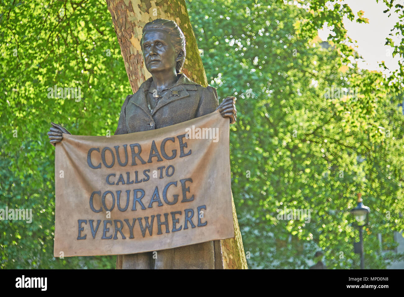 Statue of Millicent Fawcett, suffragist and votes for women campaigner in Parliament Square London - Stock Image