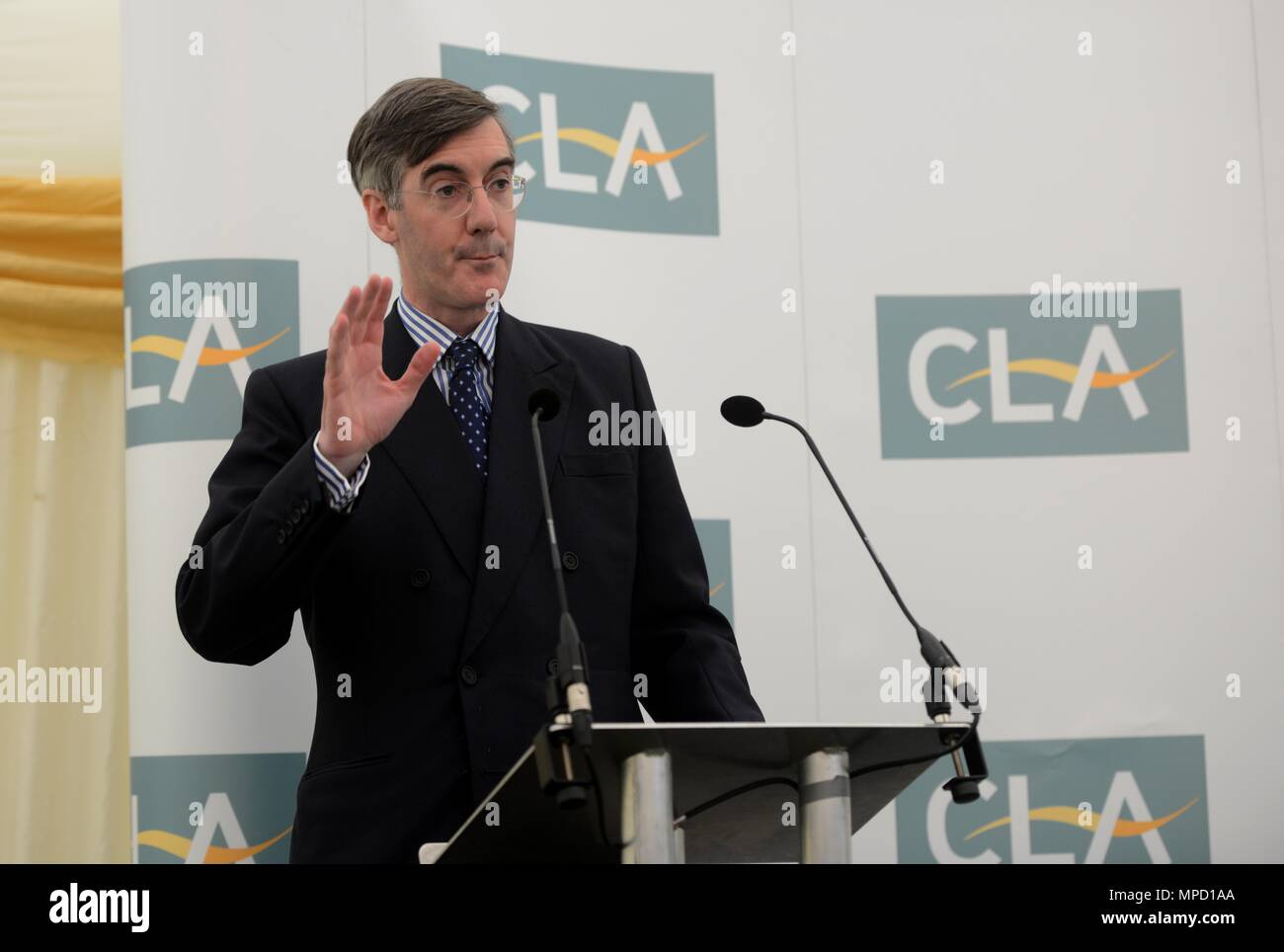 CLA Breakfast at the Bath and West Show MP Jacob Rees Mogg talks - Stock Image