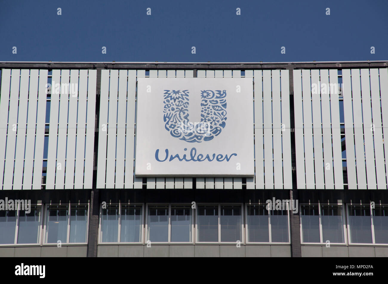 Rotterdam , Netherlands-august 13, 2015: Unilever is a multinational company in the field of food, personal care and cleaning products. - Stock Image