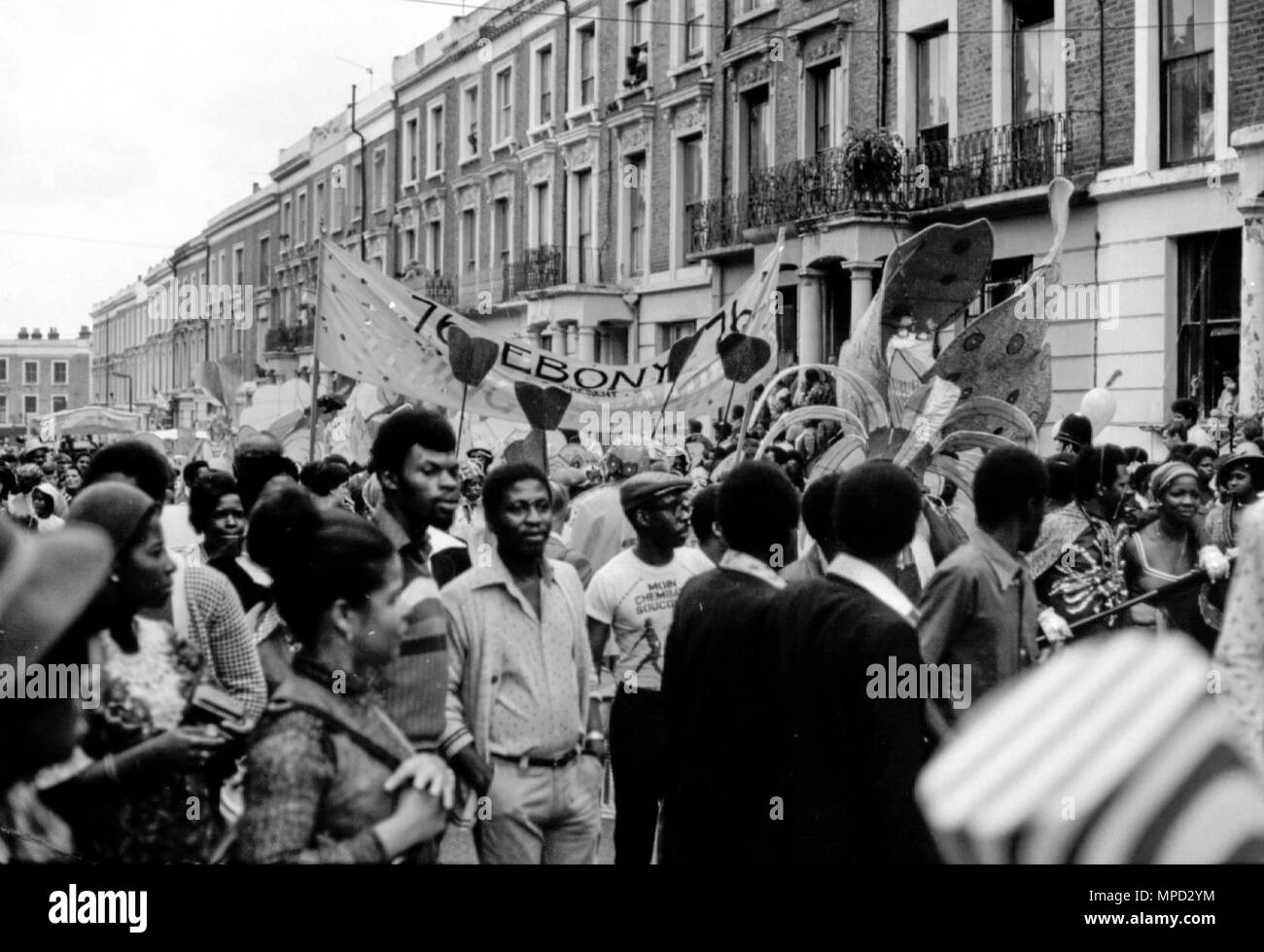 The Notting Hill Carnival in the streets of West London in 1976, the largest street festival in Europe. Great history of the Carnival images. - Stock Image