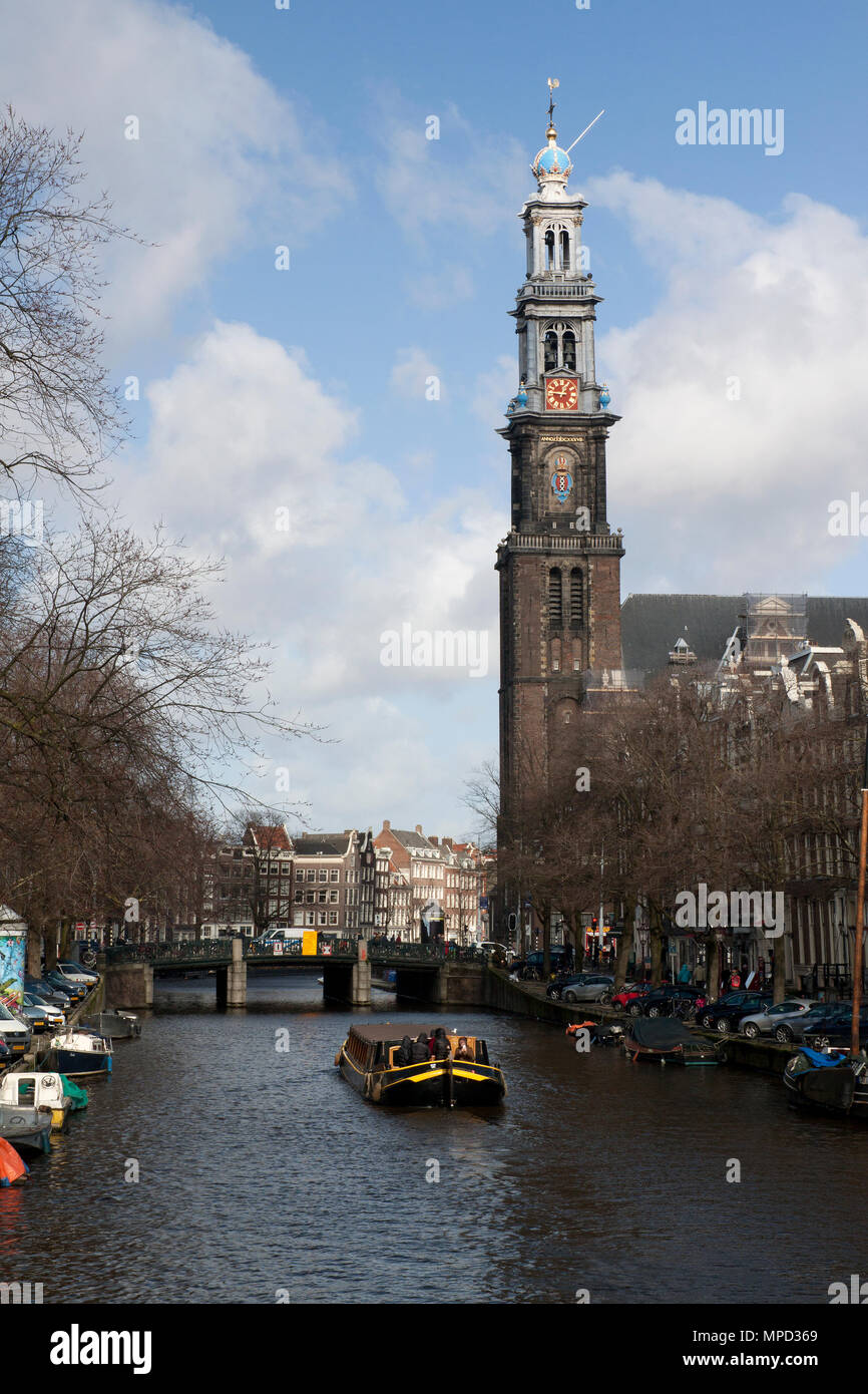 Amsterdam,The Netherlands-march 1,2015: The Westerkerk in Amsterdam is the tower of the Westerkerk, at Prinsengracht 279 in the Western Market in Amst - Stock Image