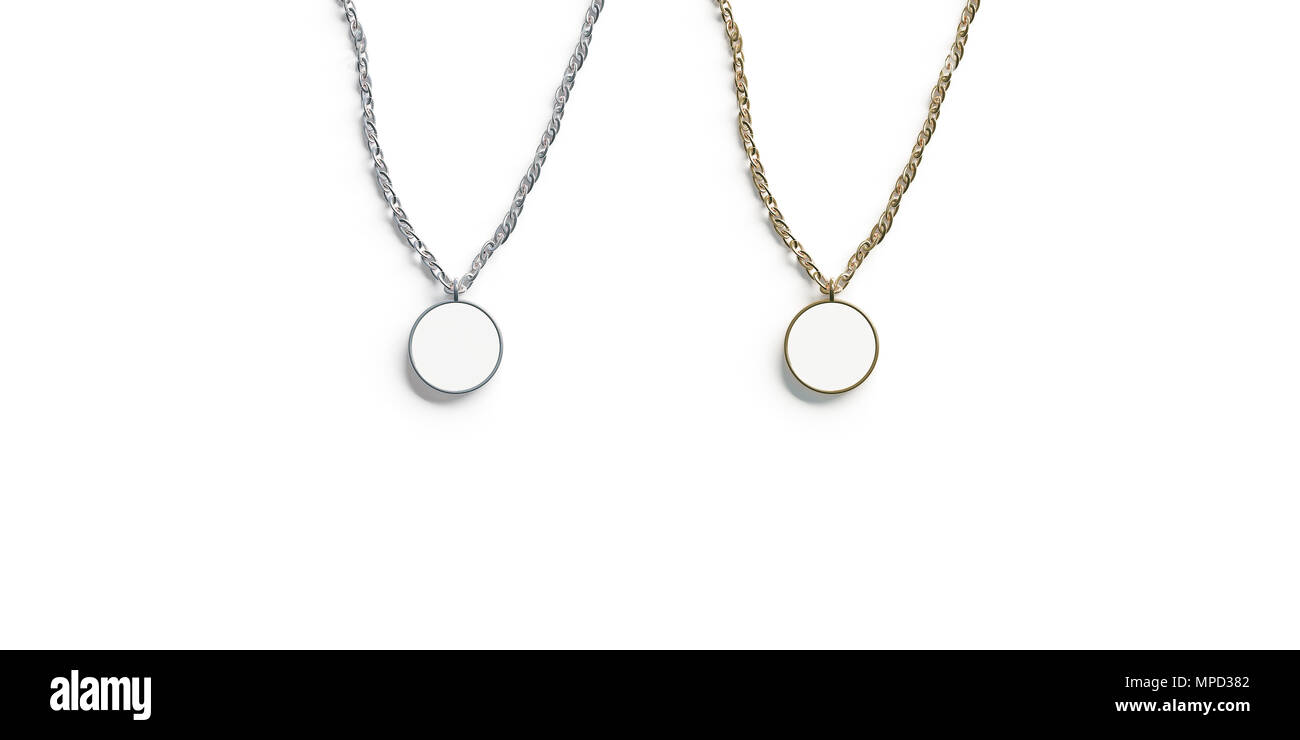 Blank white golden and silver pendant round mockup top view