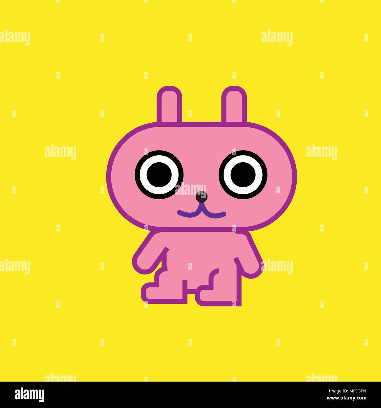 Cute Cartoon Character Pink Rabbit Art With Yellow Background Vector Illustration Kids Rabbit Simple Design Stock Vector Image Art Alamy