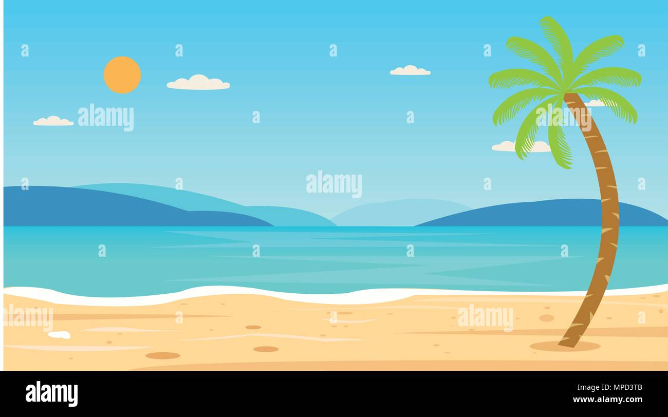 Tropical Beach Travel Holiday Vacation Leisure Nature Concept vector illustration.Beautiful seascape  and sky background.Travel concept. - Stock Vector